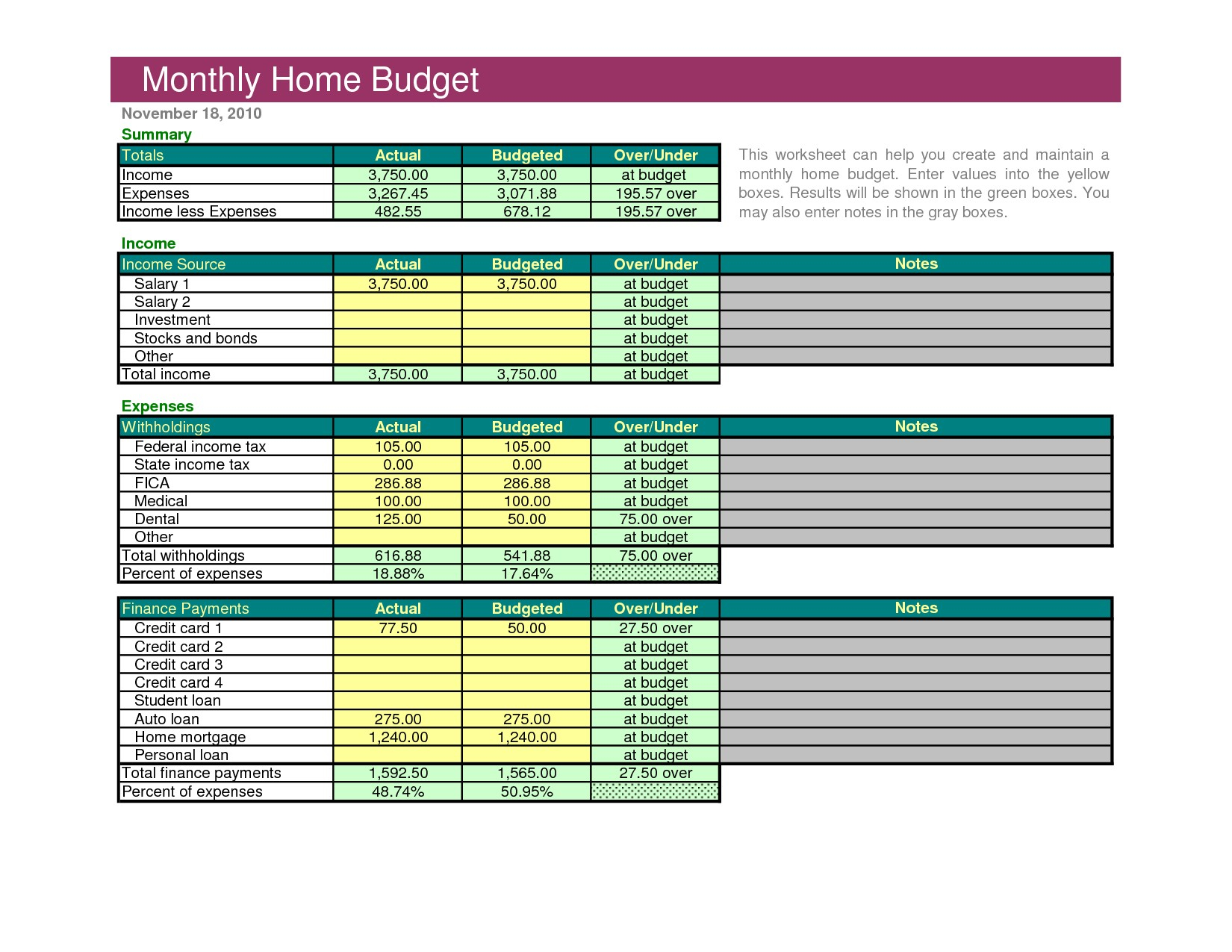 Excel Family Budget Template Sample Household Bud