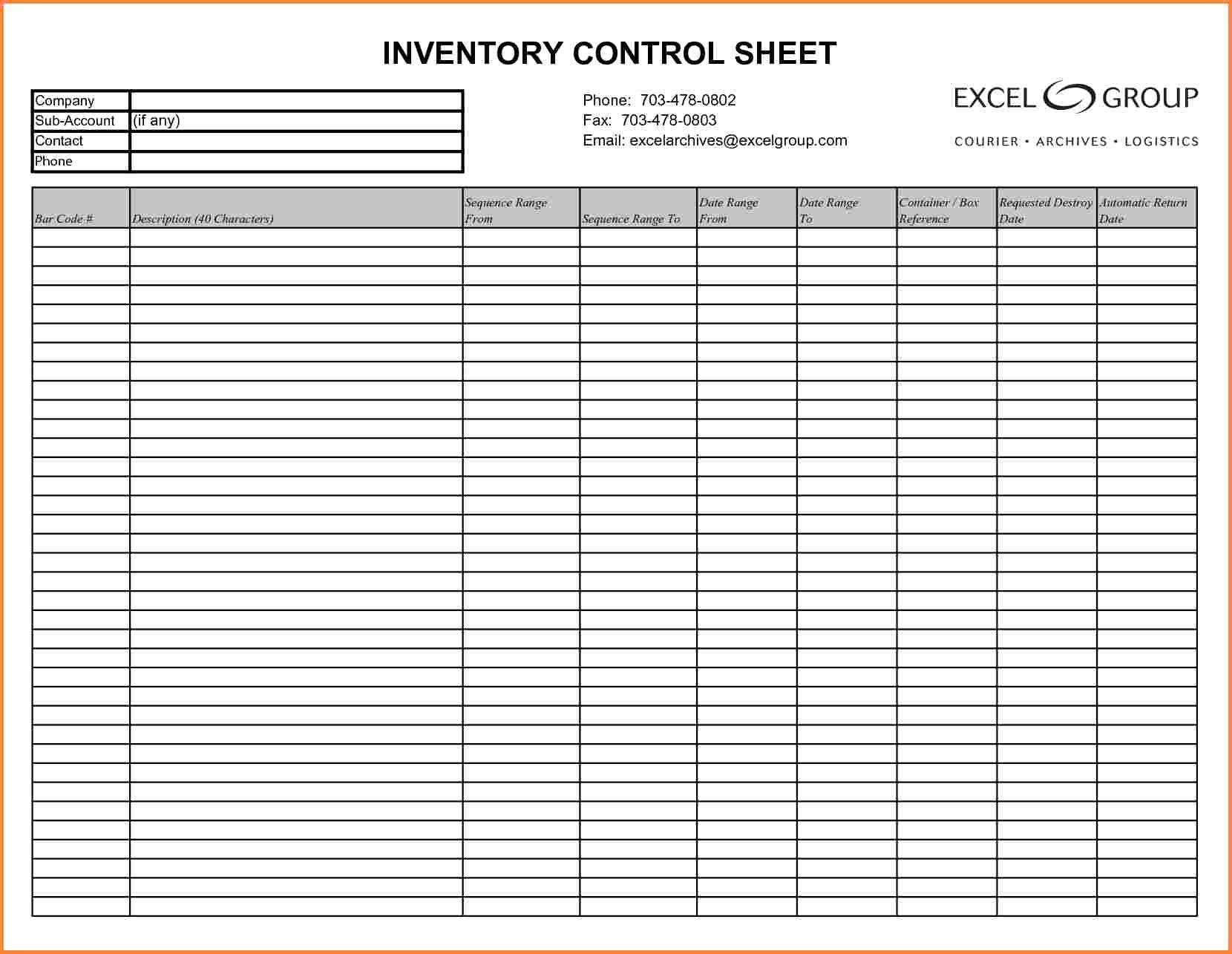 Inventory Sheet Template Printable Free Sheets Maggi