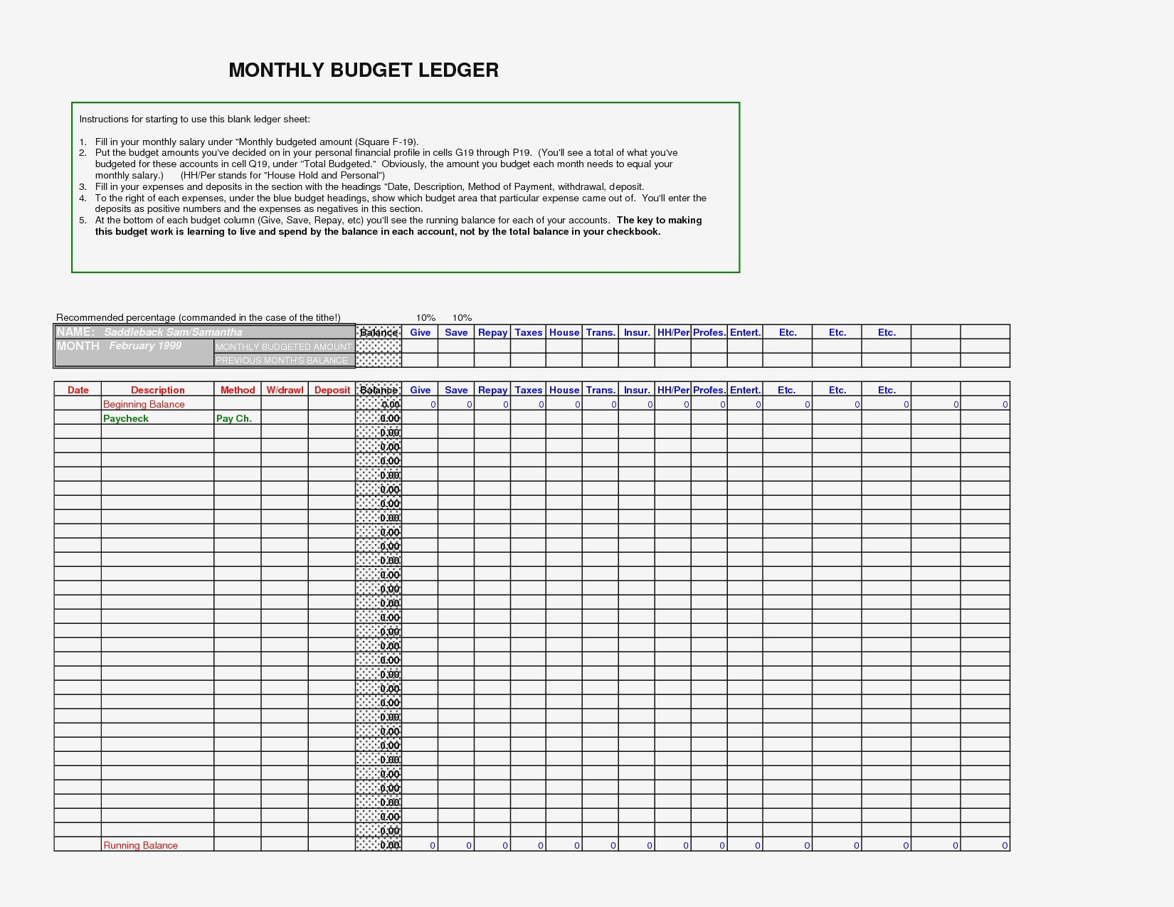 Ledger Template Small Business Templates Excel