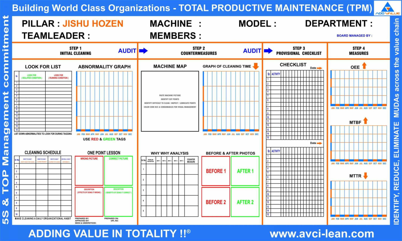 Safety Tracking Spreadsheet With Tpm Total Productive