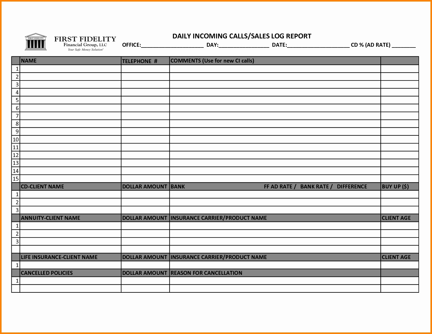 Sales Call Schedule Template With Sales Call Tracker