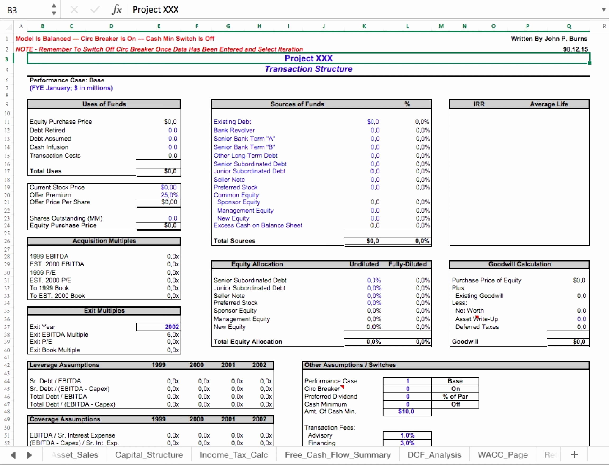 Business Valuation Spreadsheet Spreadsheet Softwar