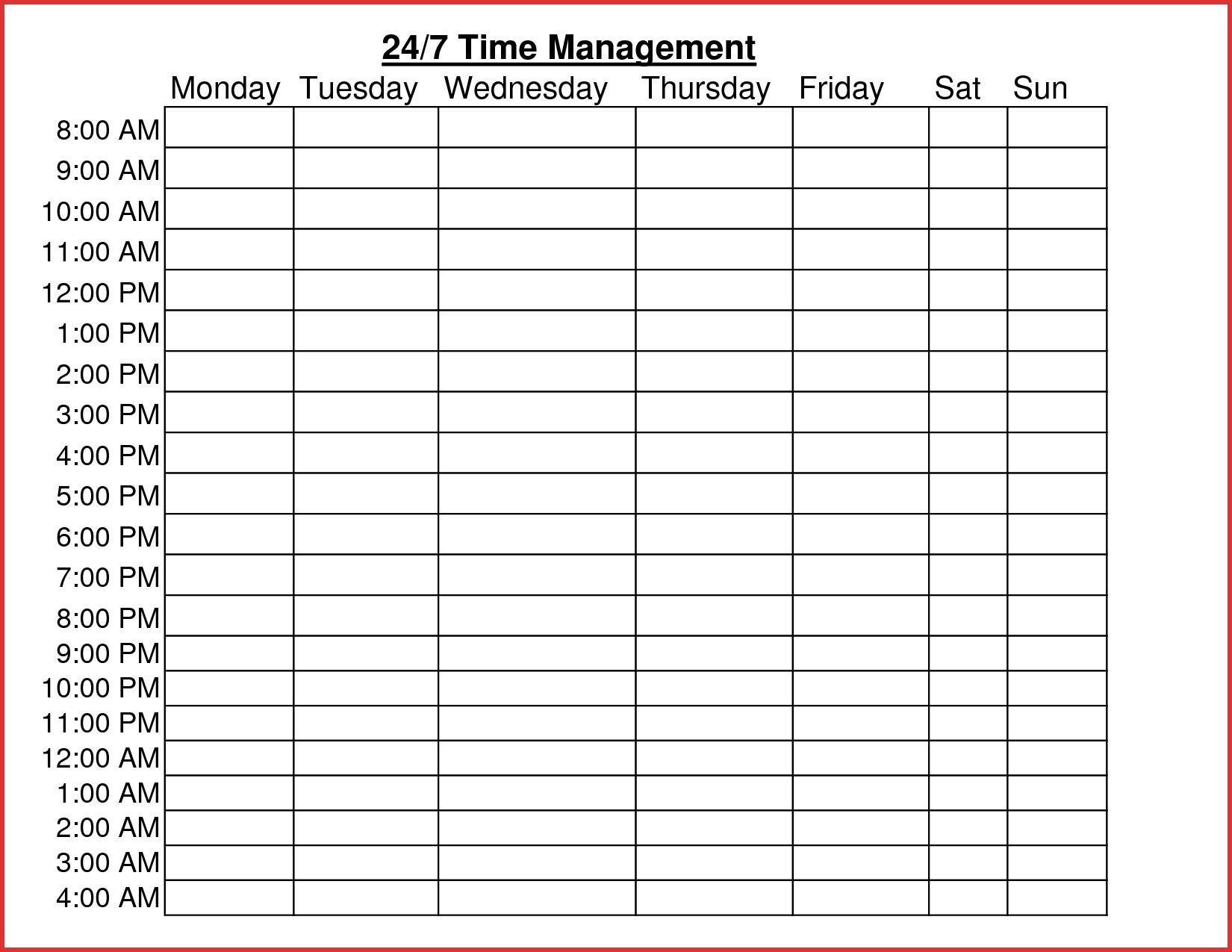 Time Management Worksheet Word Document Inspirationa