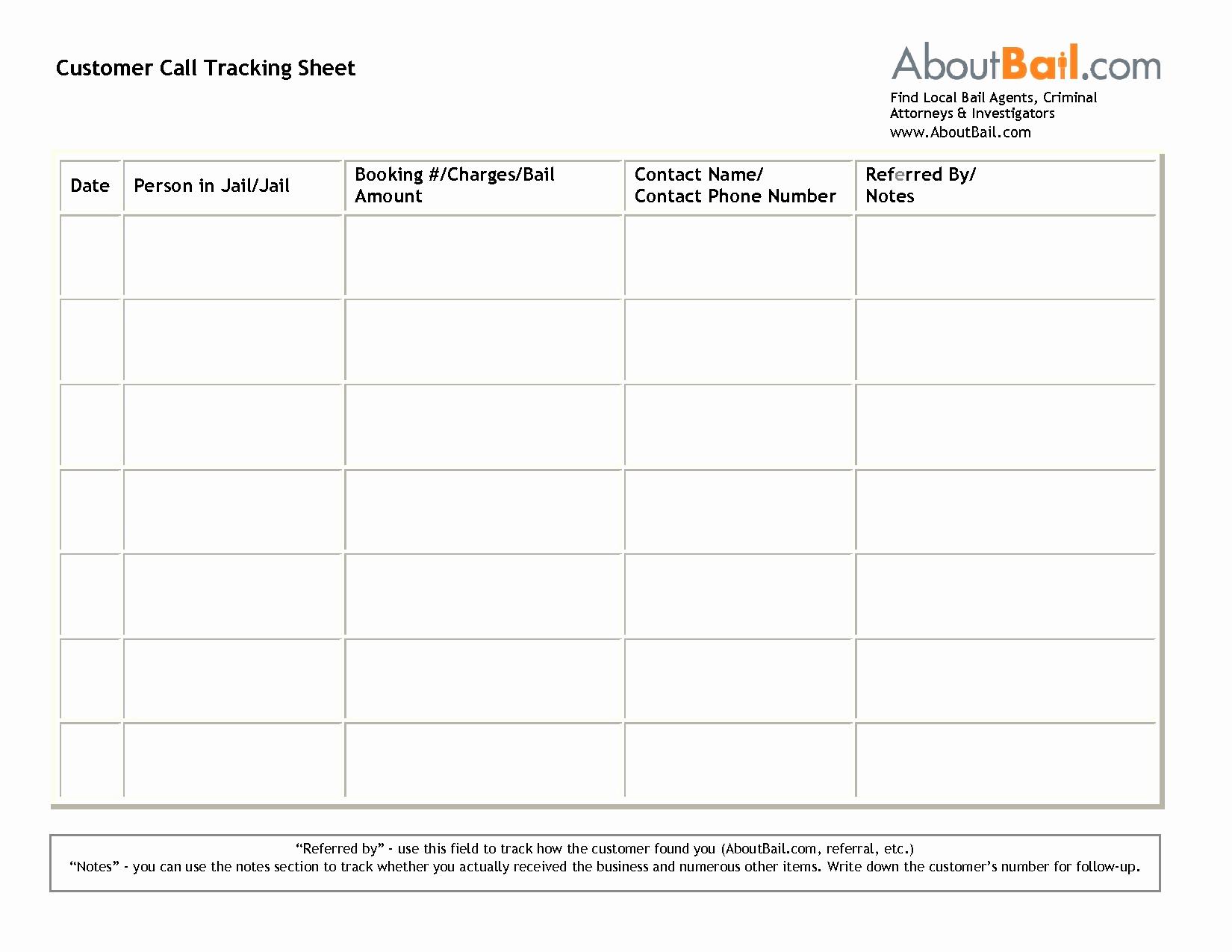 Sales Call Tracker Spreadsheet