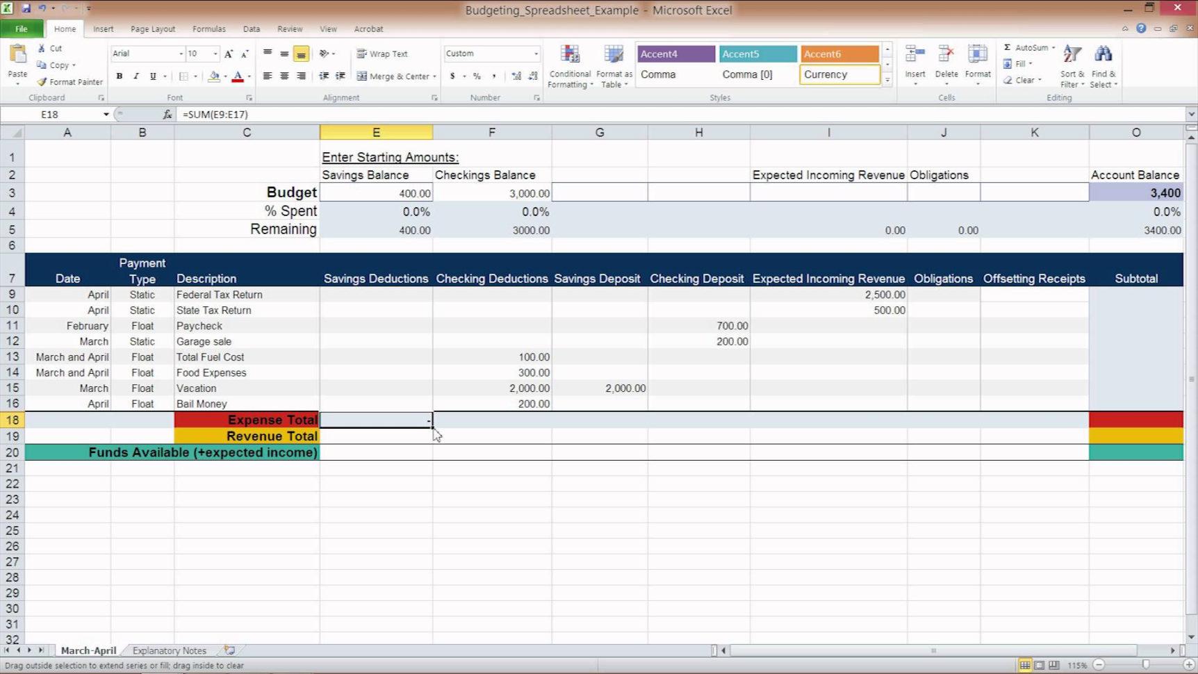 50 30 20 Budget Worksheet