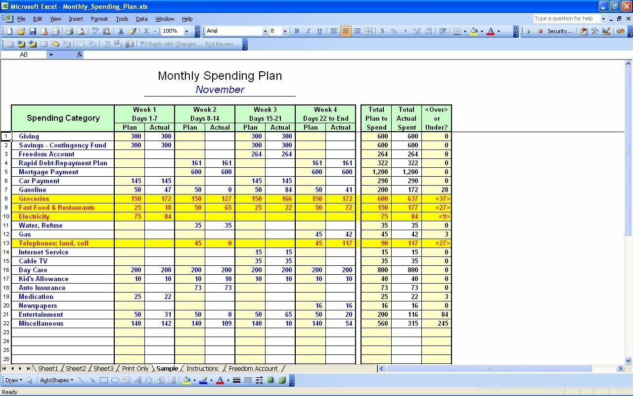 50 30 20 Budget Spreadsheet Template Spreadshee 50
