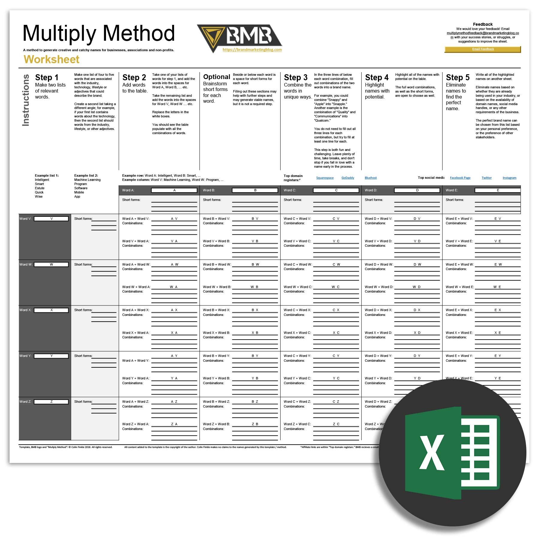 Affiliate Marketing Spreadsheet Within Multiply Method