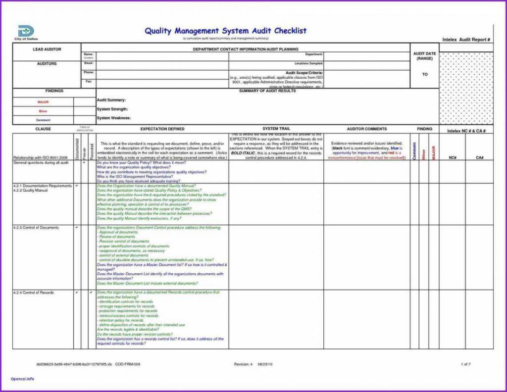 Audit Spreadsheet Templates In Internal Audit Report