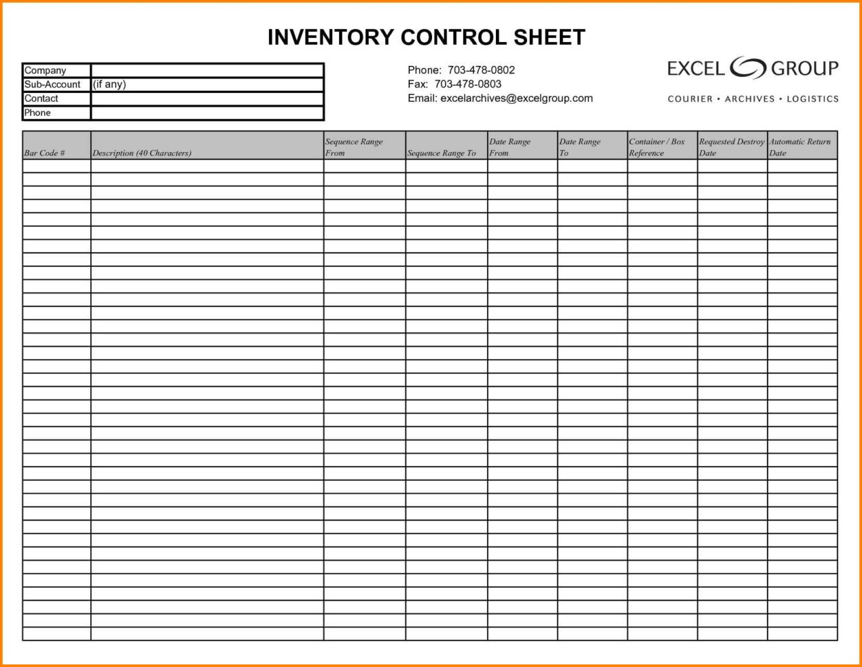 Supplies Inventory Worksheet Template
