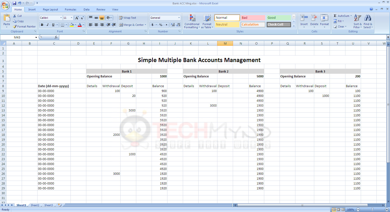 Bank Account Spreadsheet Template Spreadsheet Downloa