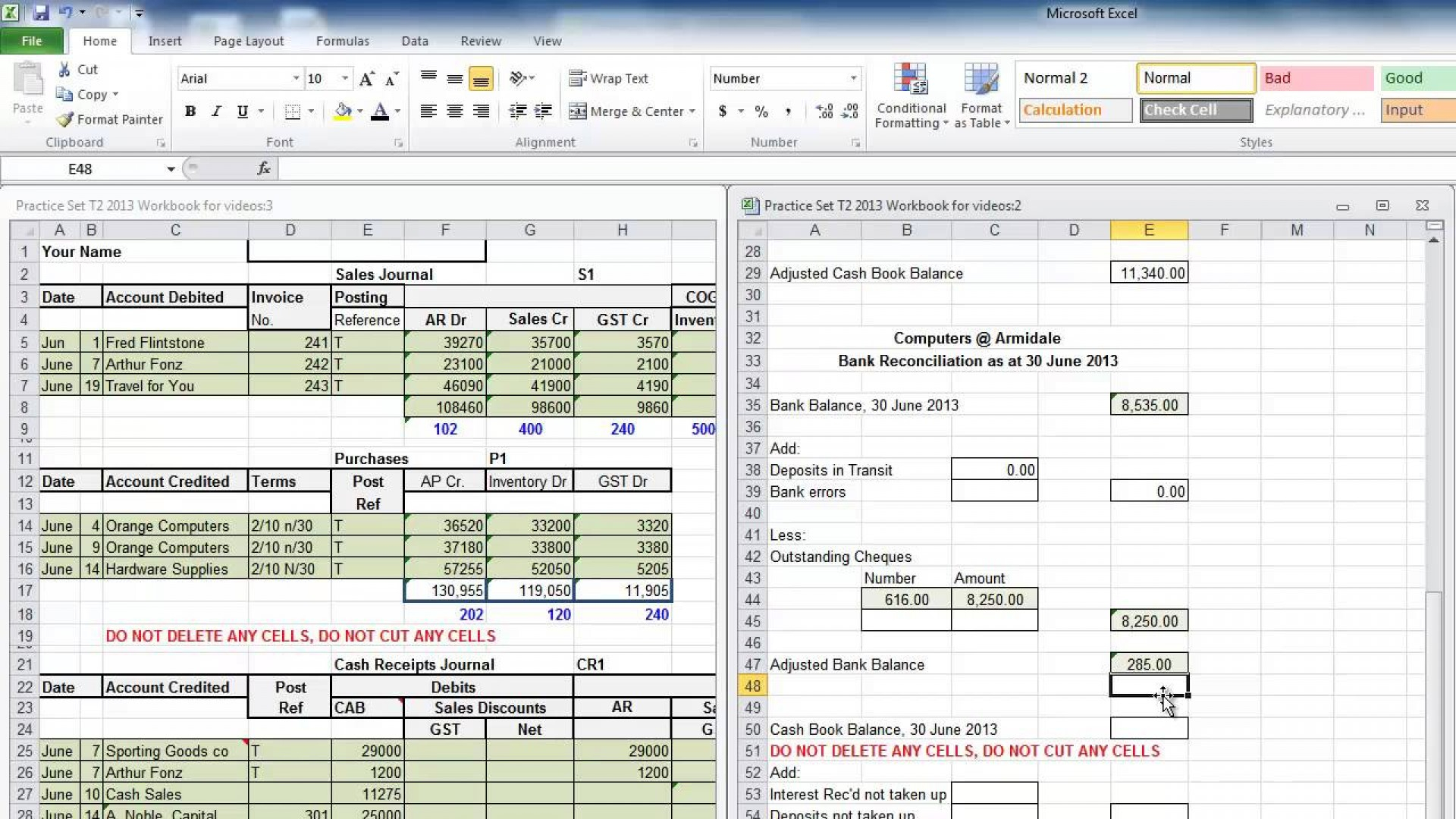 Bank Reconciliation Worksheet For A School