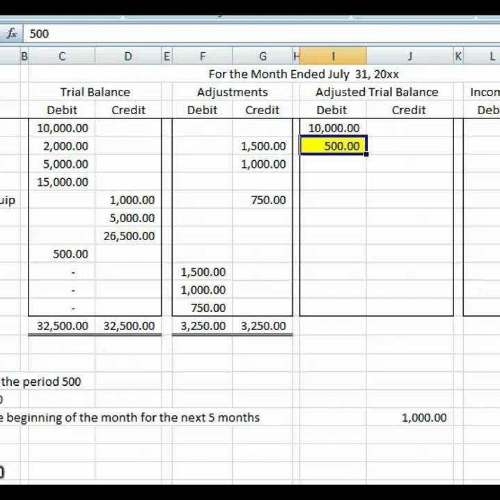 Basic Accounting Worksheet Example