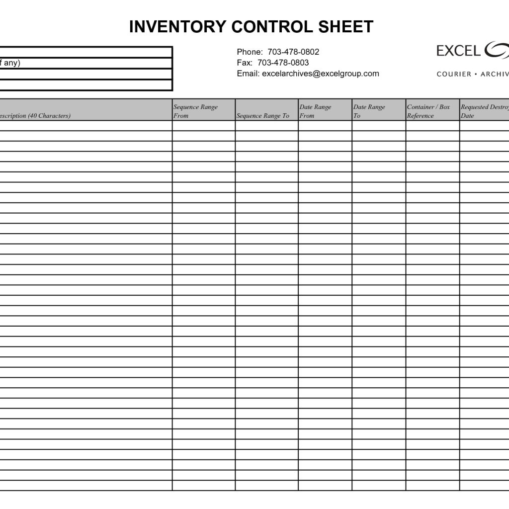 Basic Stock Control Spreadsheet Within Simple Inventory