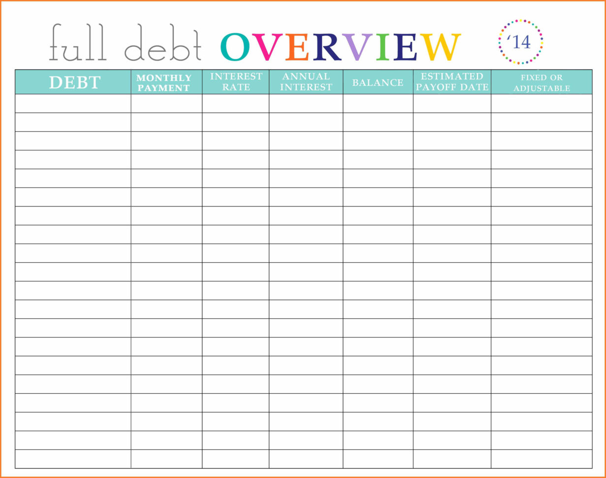 Bill Organizer Spreadsheet Throughout Monthly Bill