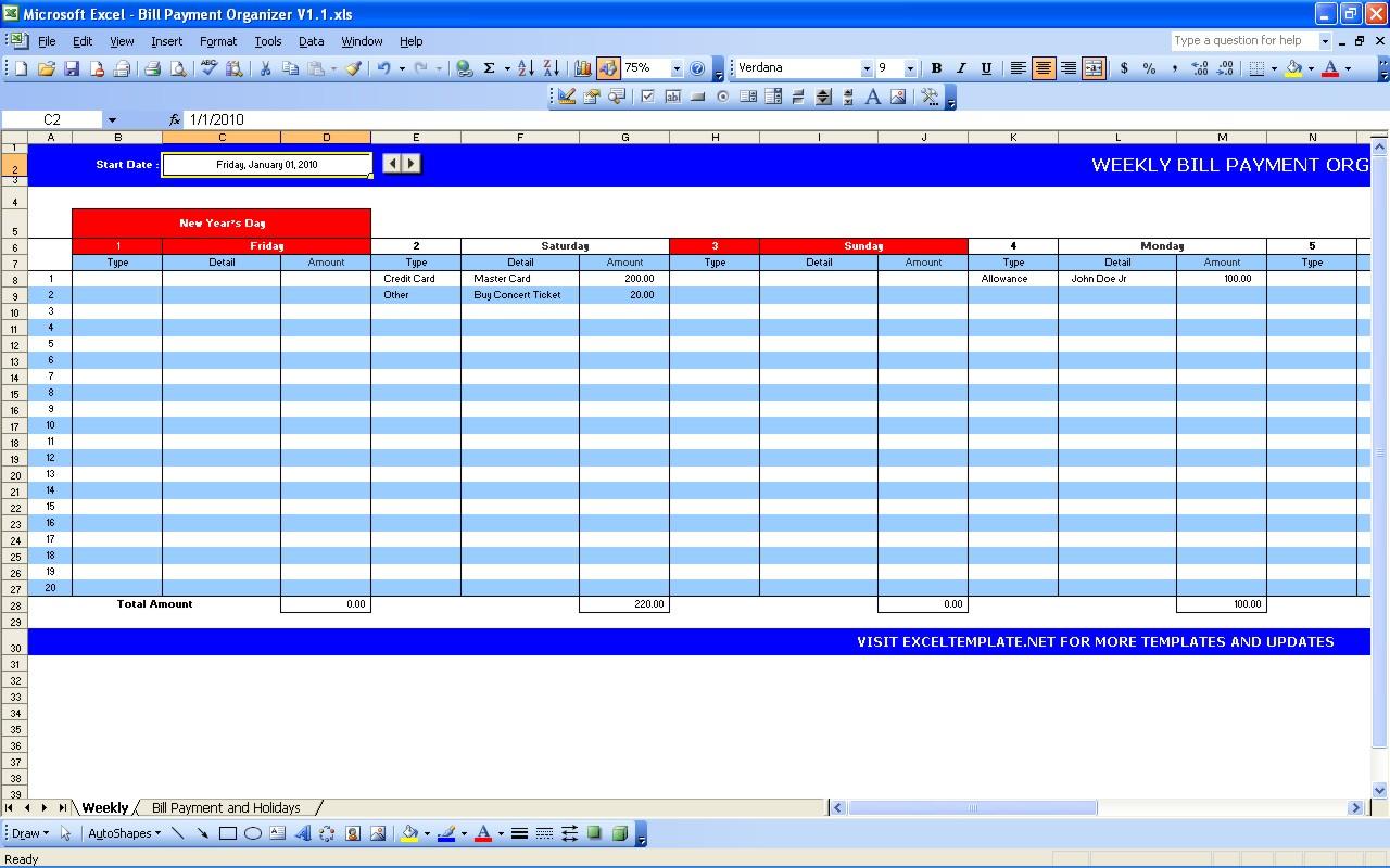 Bill Pay Schedule Spreadsheet With Bill Schedule Template