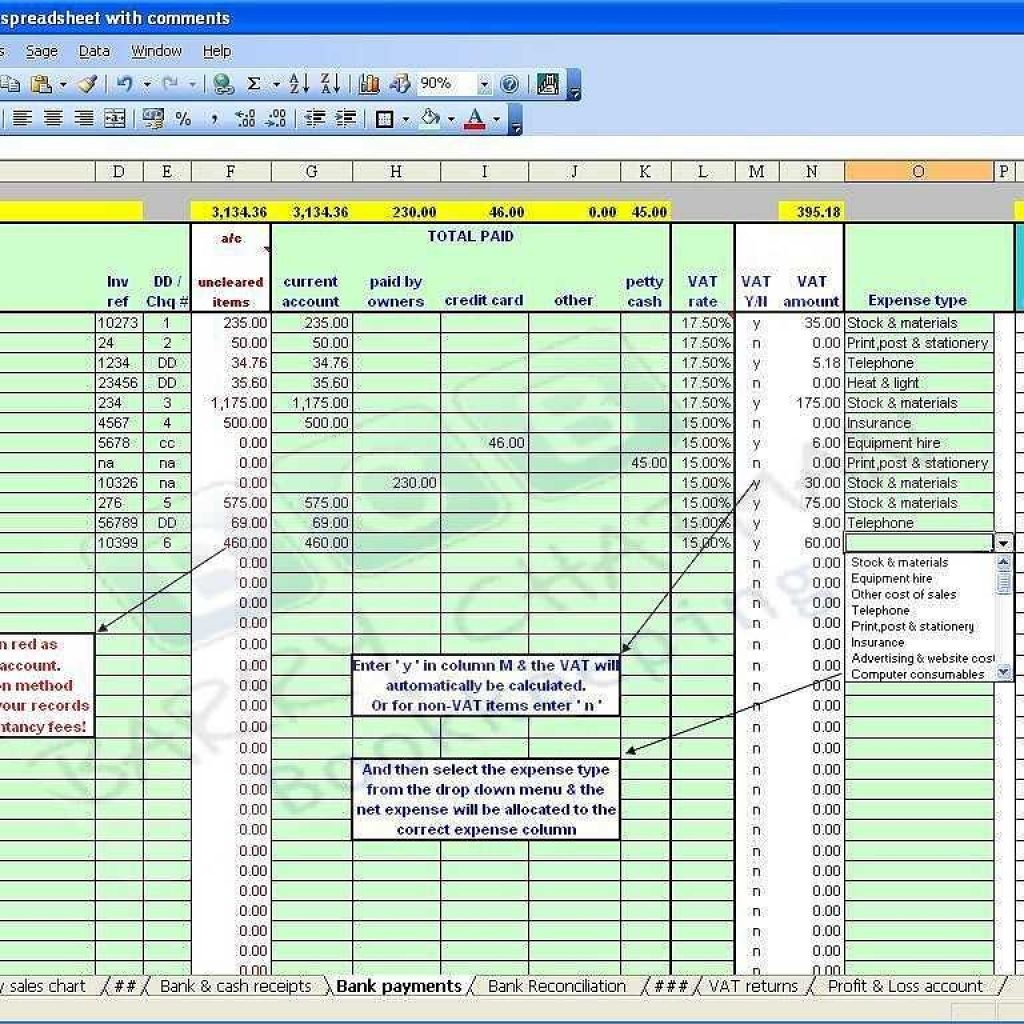 Bookkeeping Spreadsheet Example Spreadsheet Downloa