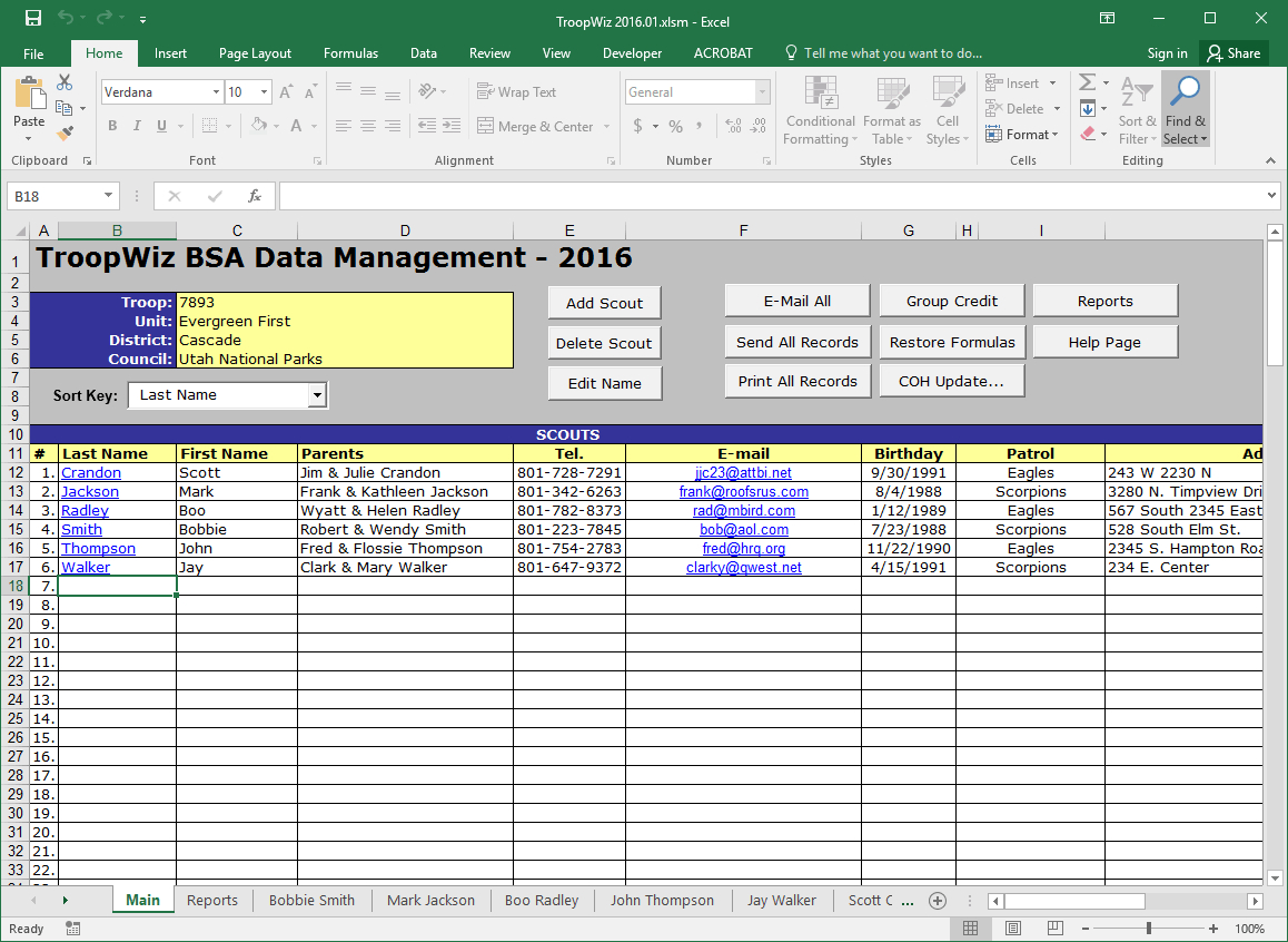Boy Scout Troop Accounting Spreadsheet Spreadshee