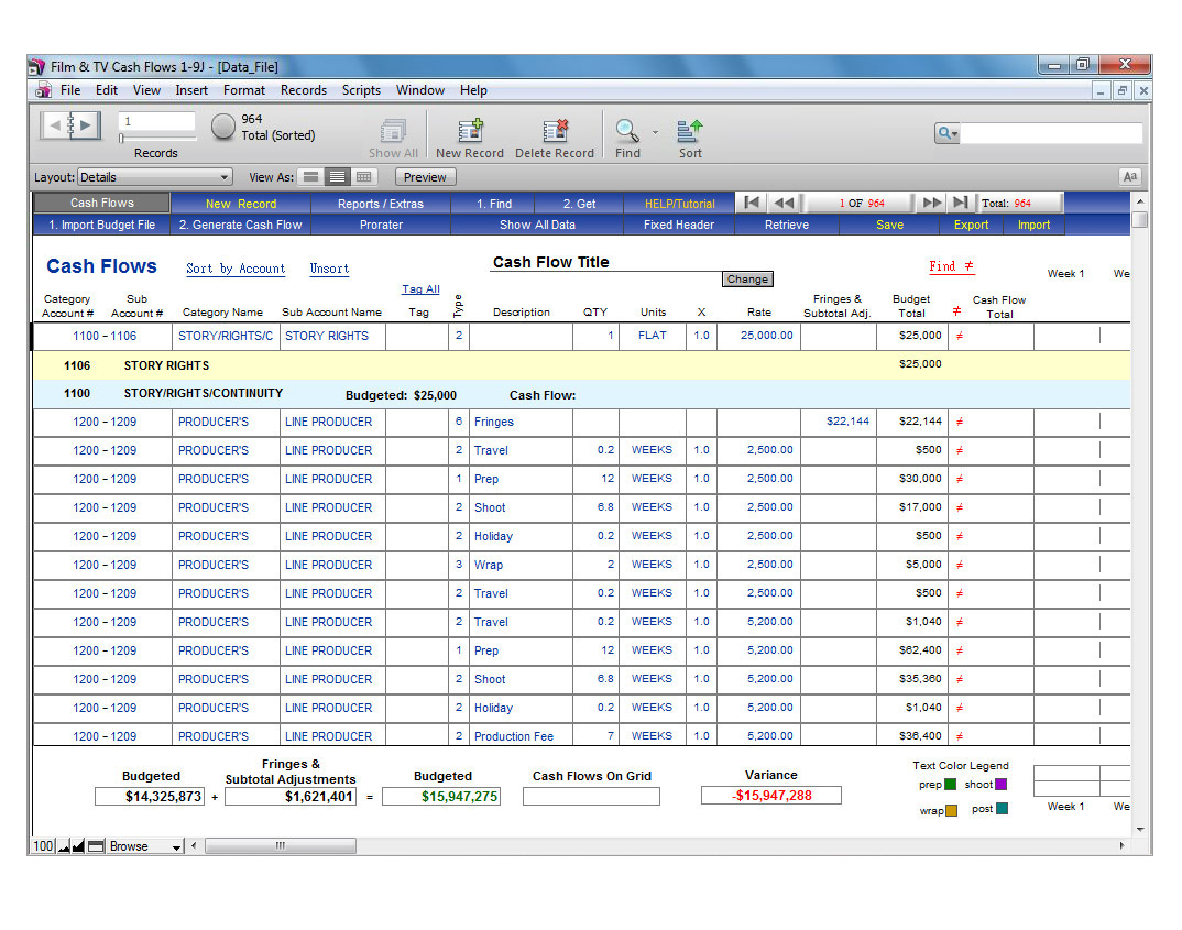 Budget And Cash Flow Spreadsheet Regarding Showbiz Cash Flows Showbiz Software From Media