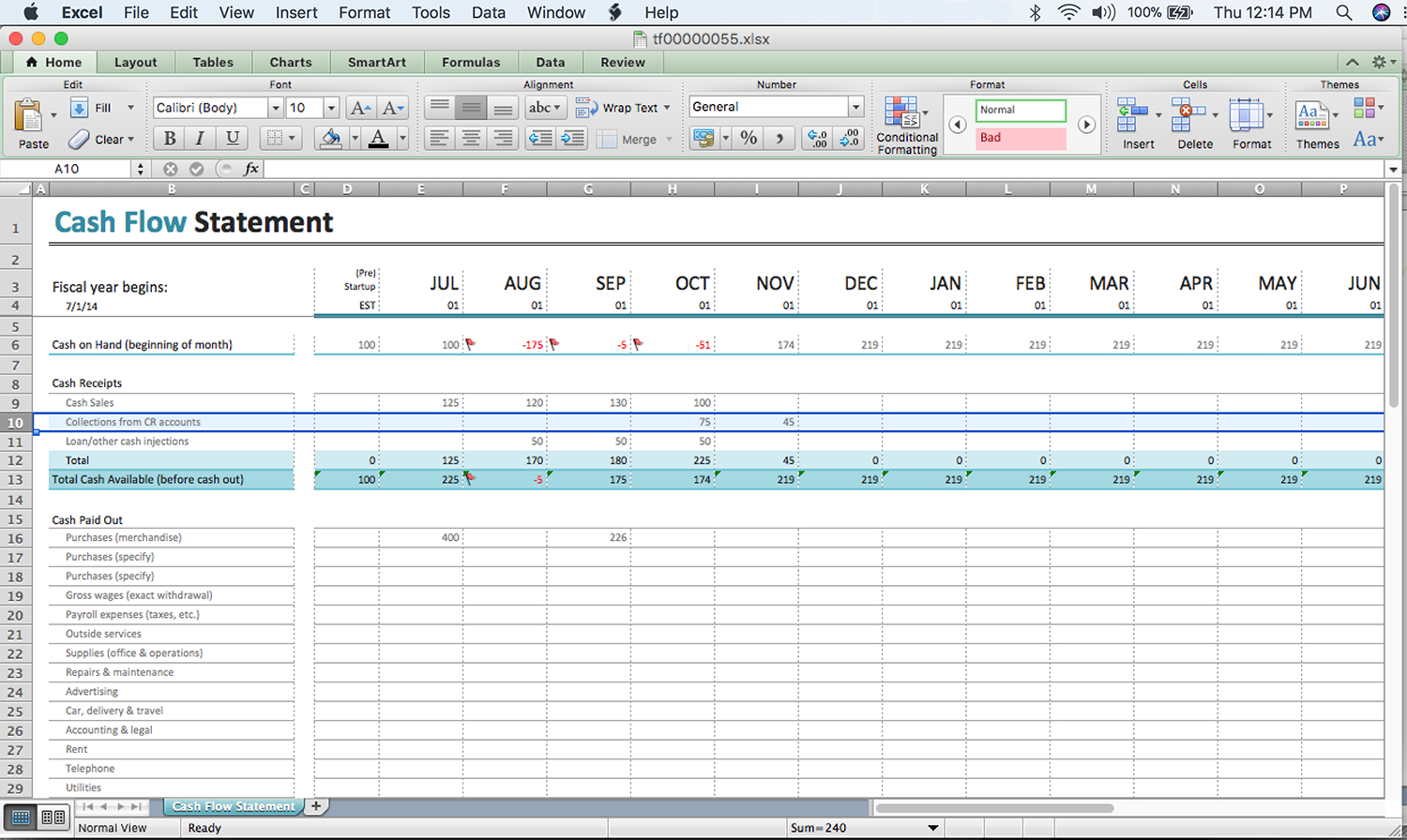Cash Flow Spreadsheet Example Spreadshee Cash Flow Projection Example Cash Flow