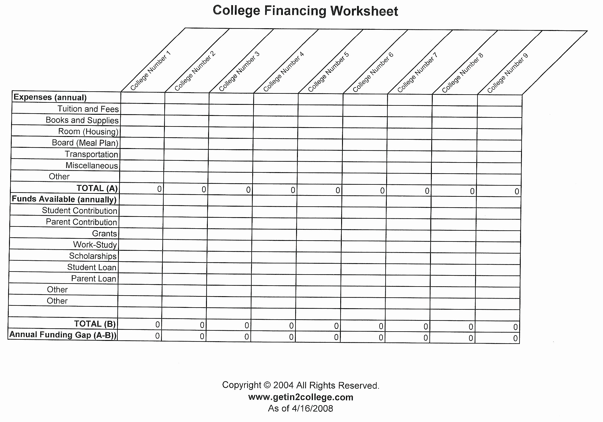 College Cost Spreadsheet Throughout College Comparison