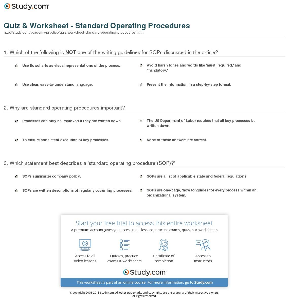 College Decision Spreadsheet With Regard To Quiz Worksheet Standard Operating Procedures Study
