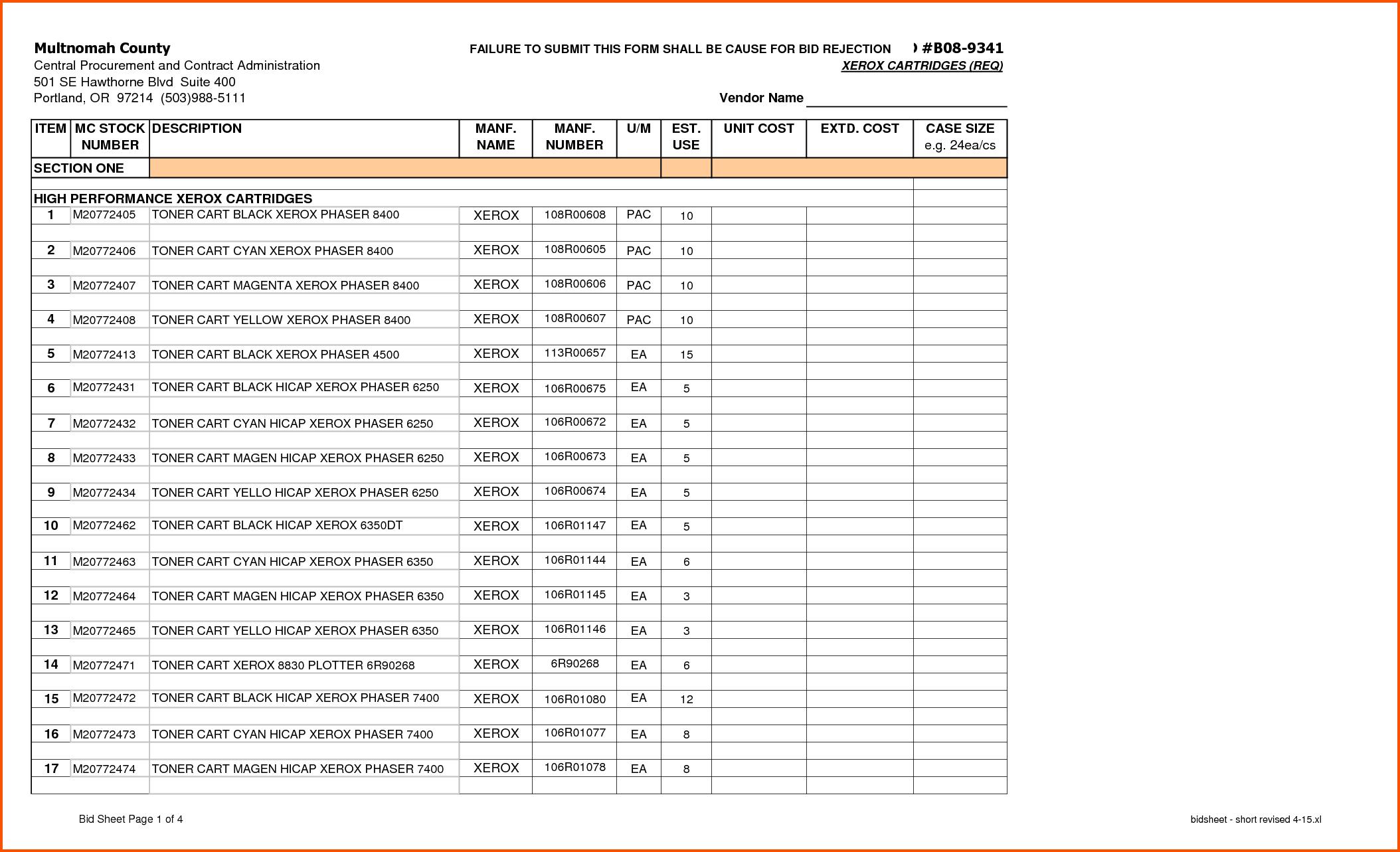 Construction Bid Comparison Spreadsheet Spreadsheet