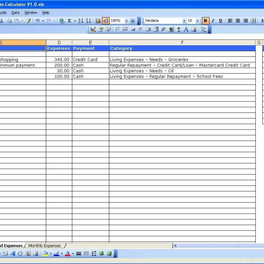 Contractor Spreadsheet Template Inside Income And Expense