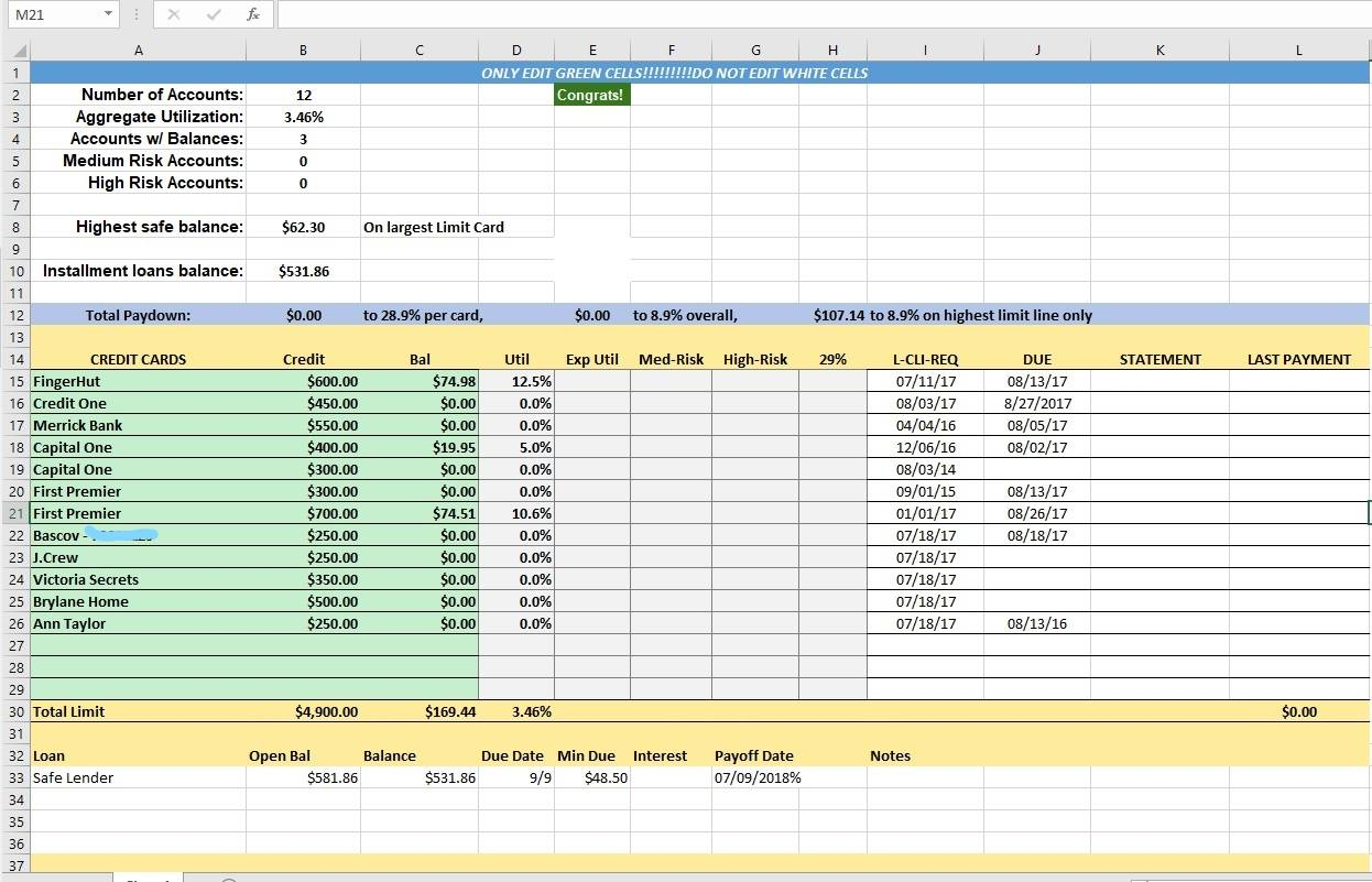 Credit Control Excel Spreadsheet