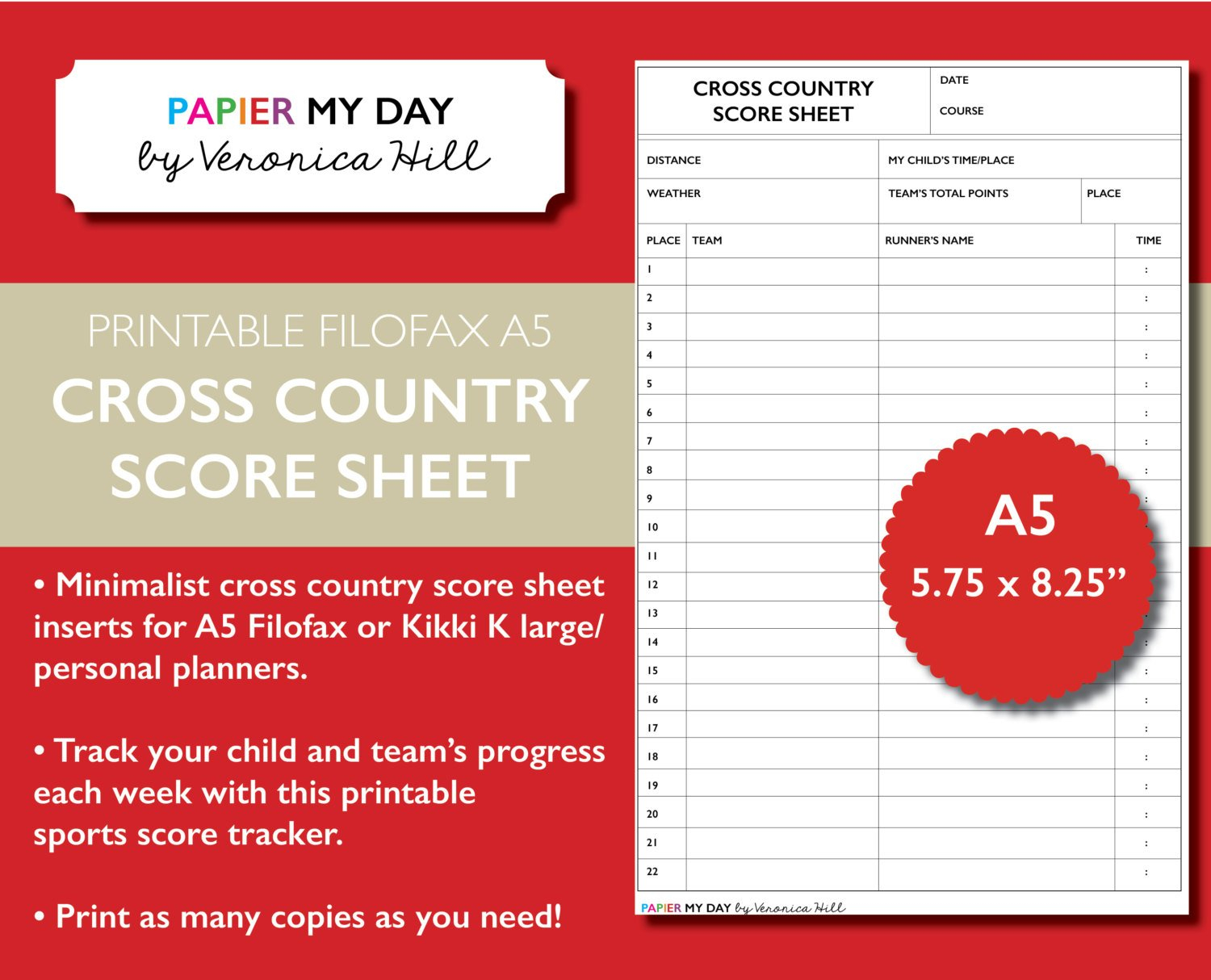 Cross Country Scoring Spreadsheet With Printable A5