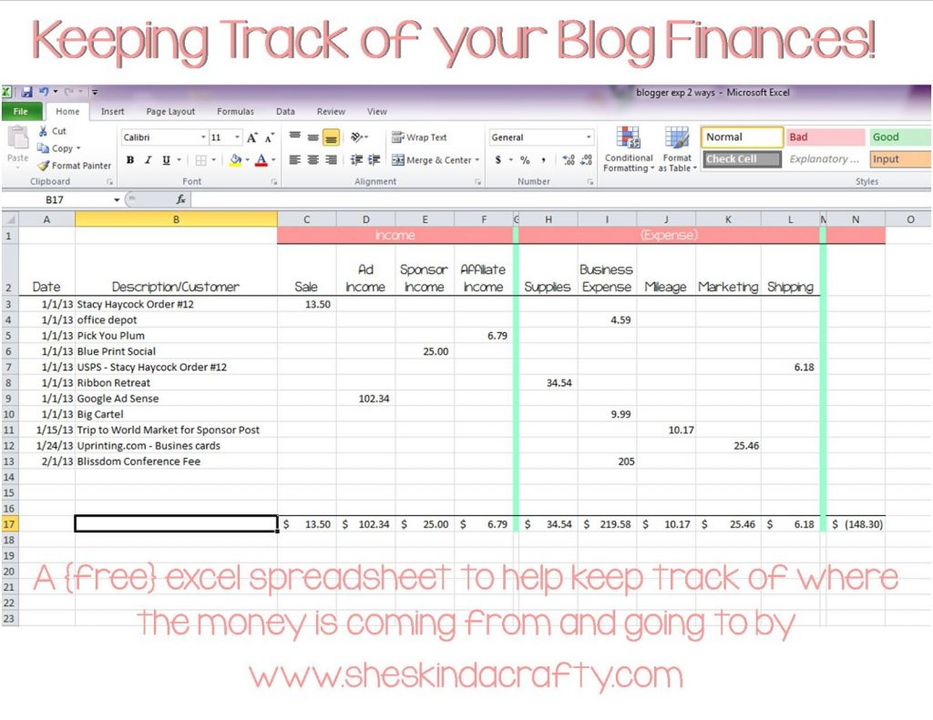 Daily Expense Spreadsheet Template For Personal Expenses
