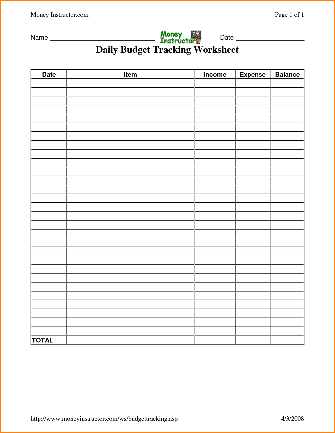 Daily Expenses Spreadsheet With Track Expenses Spreadsheet