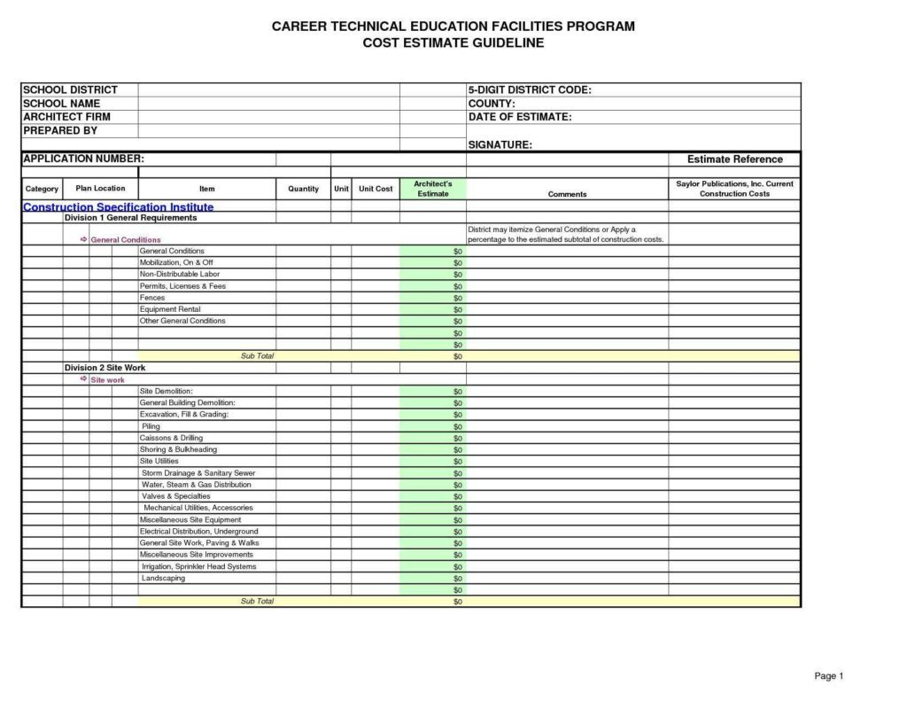 Demolition Estimating Spreadsheet Spreadshee