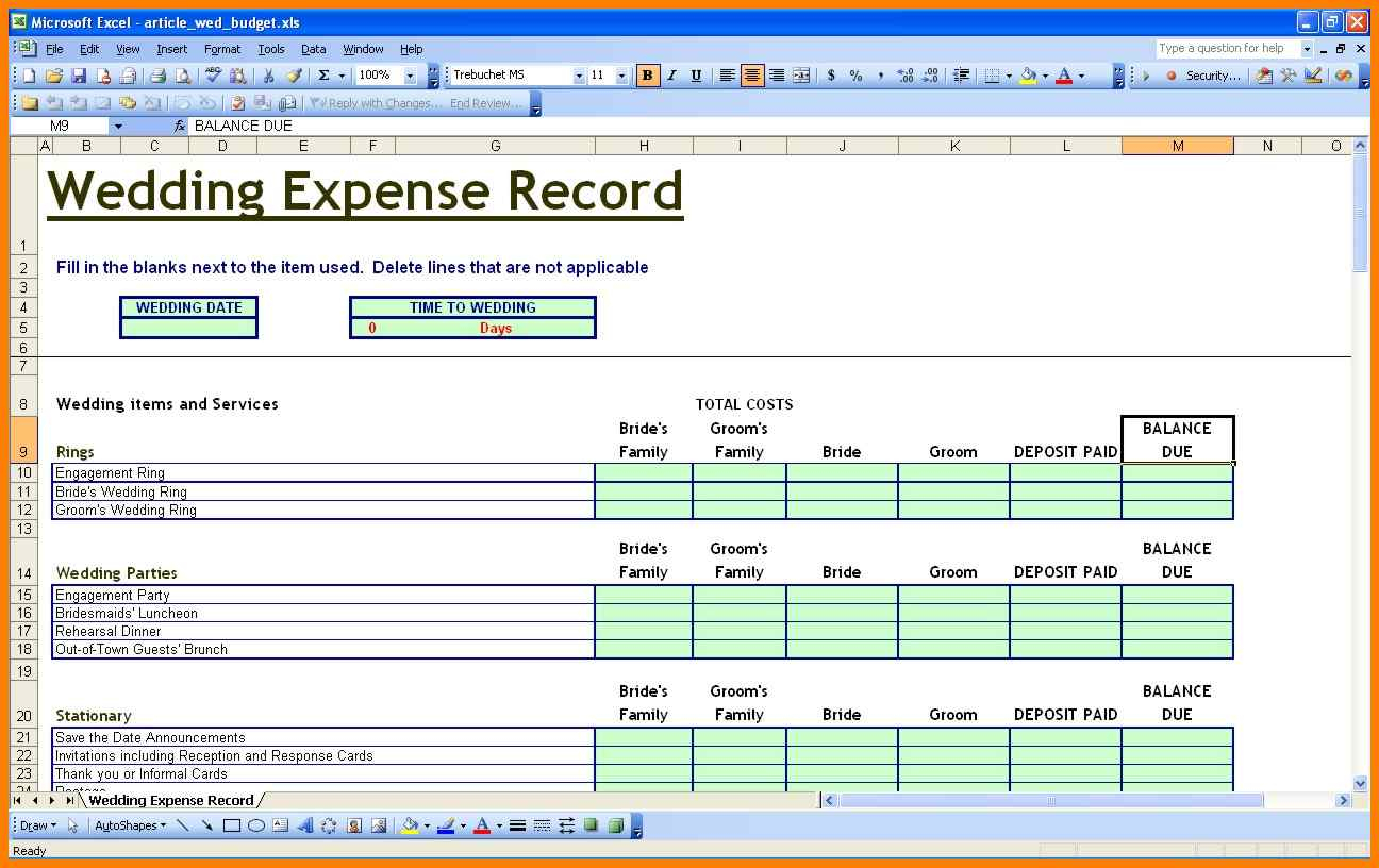 Detailed Wedding Budget Spreadsheet Inside 5 Excel