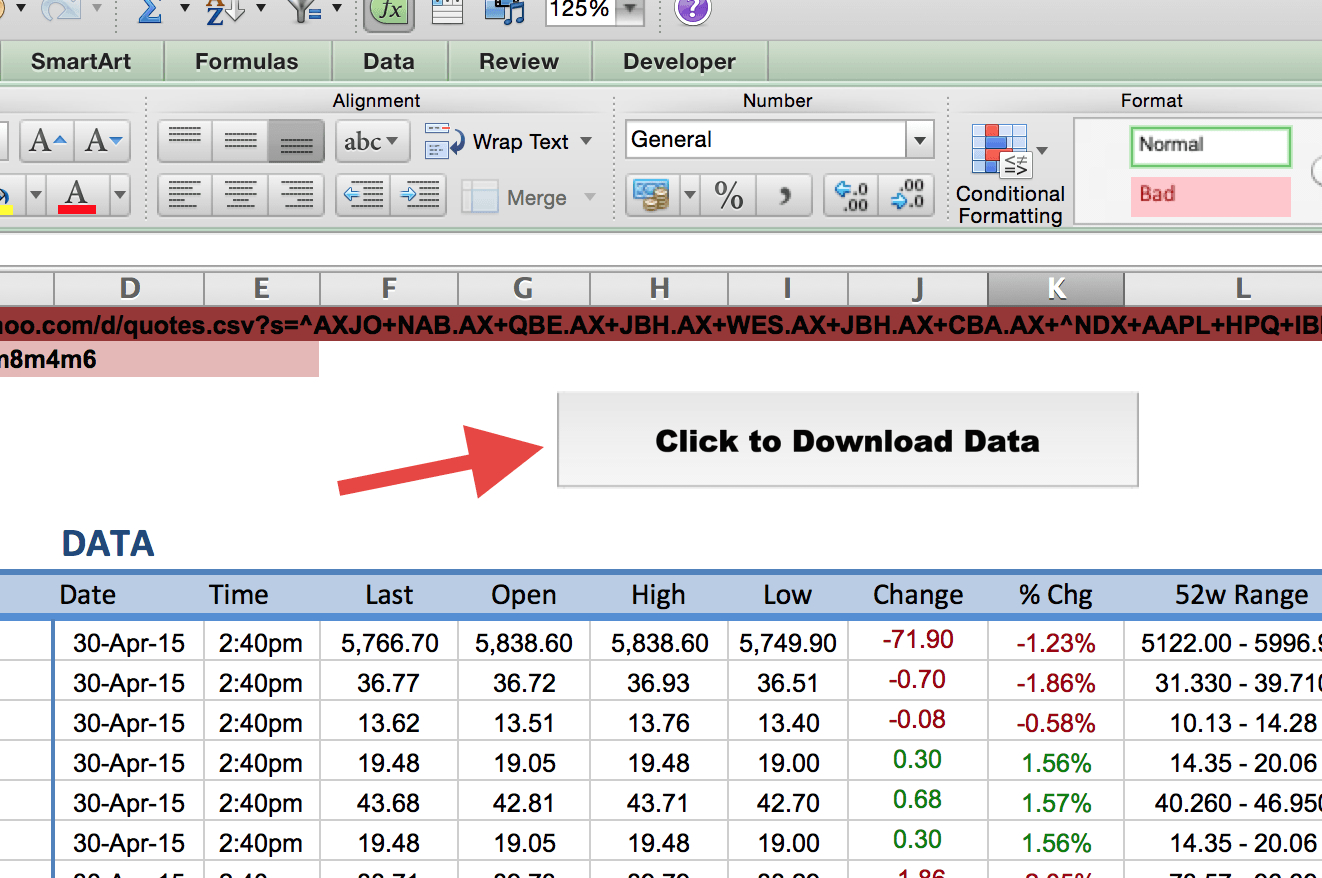 Download Stock Quotes To Excel Spreadsheet Db Excel