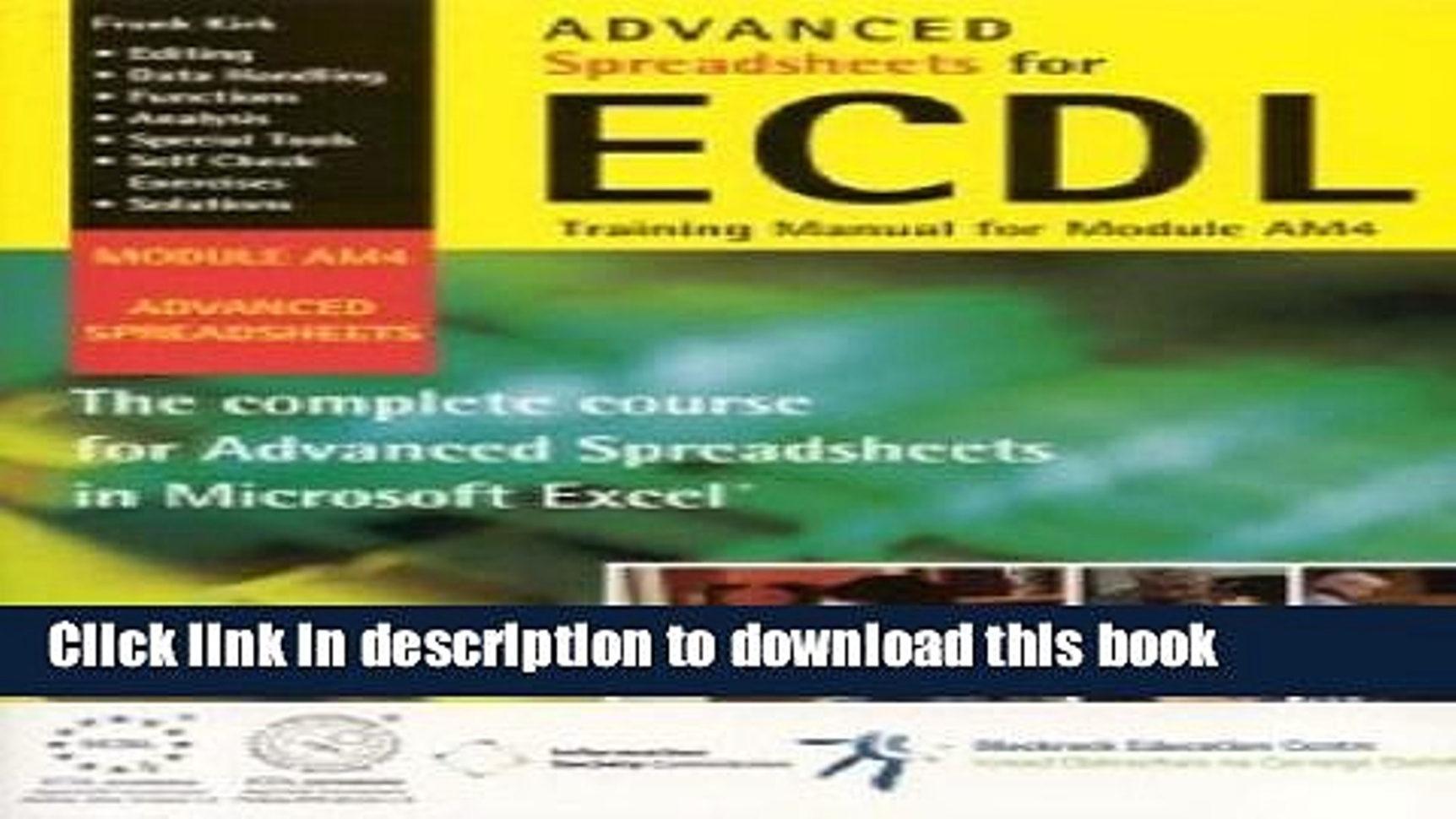 Ecdl Spreadsheets Spreadshee Ecdl Spreadsheets Revision Ecdl Spreadsheets Advanced Ecdl