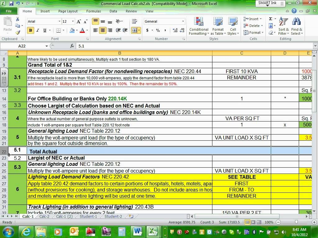 Electrical Load Calculation Spreadsheet Payment Spreadshee