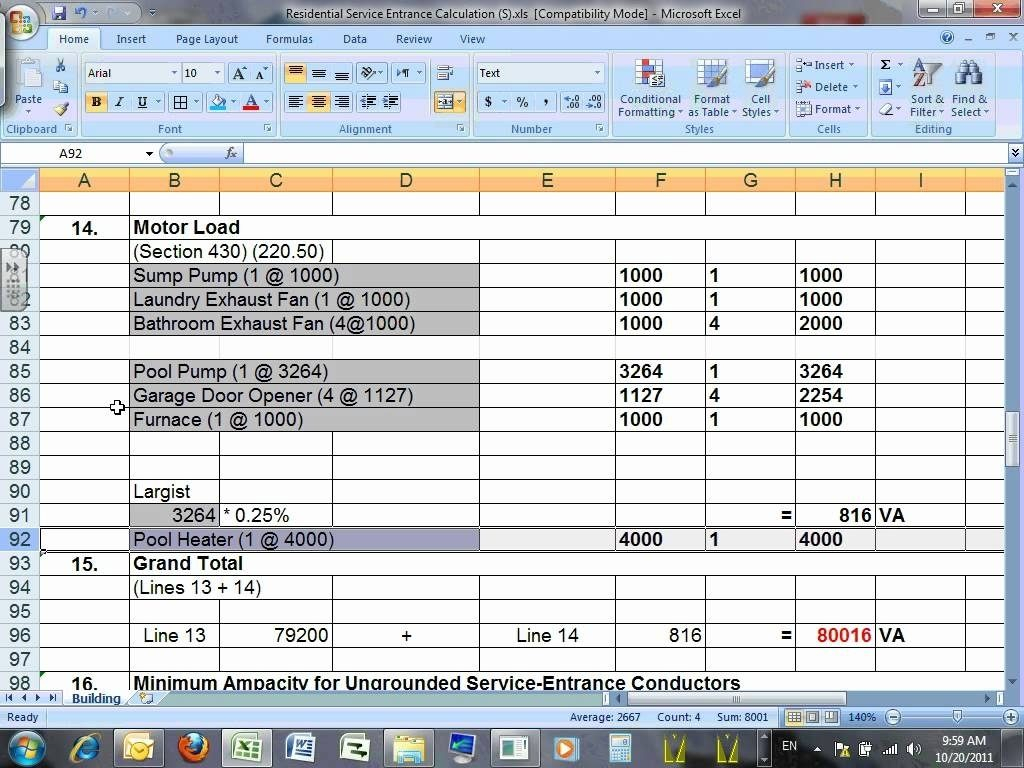 Electrical Spreadsheet Intended For Nec Commercial Load