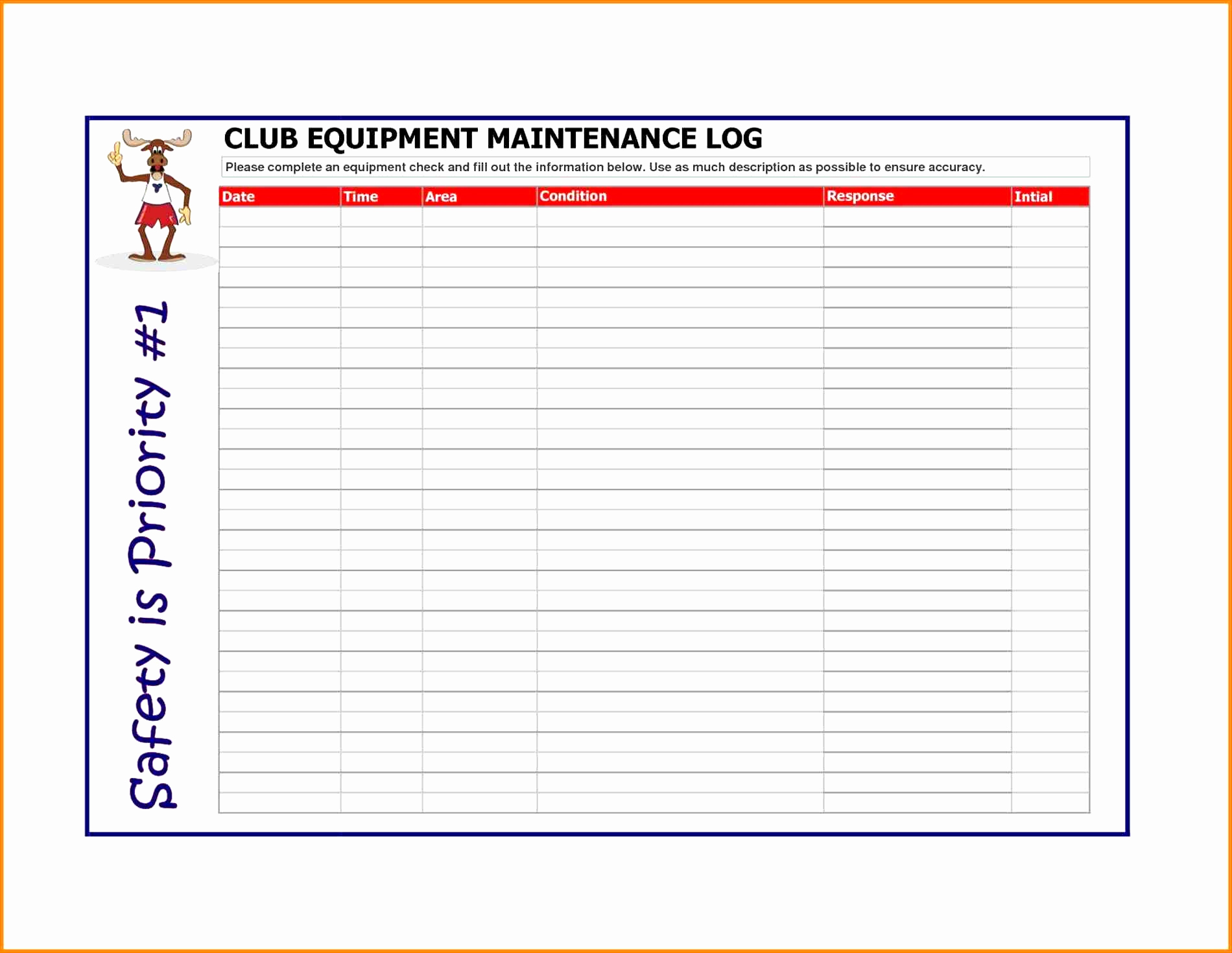 Equipment Maintenance Spreadsheet Intended For Fleet