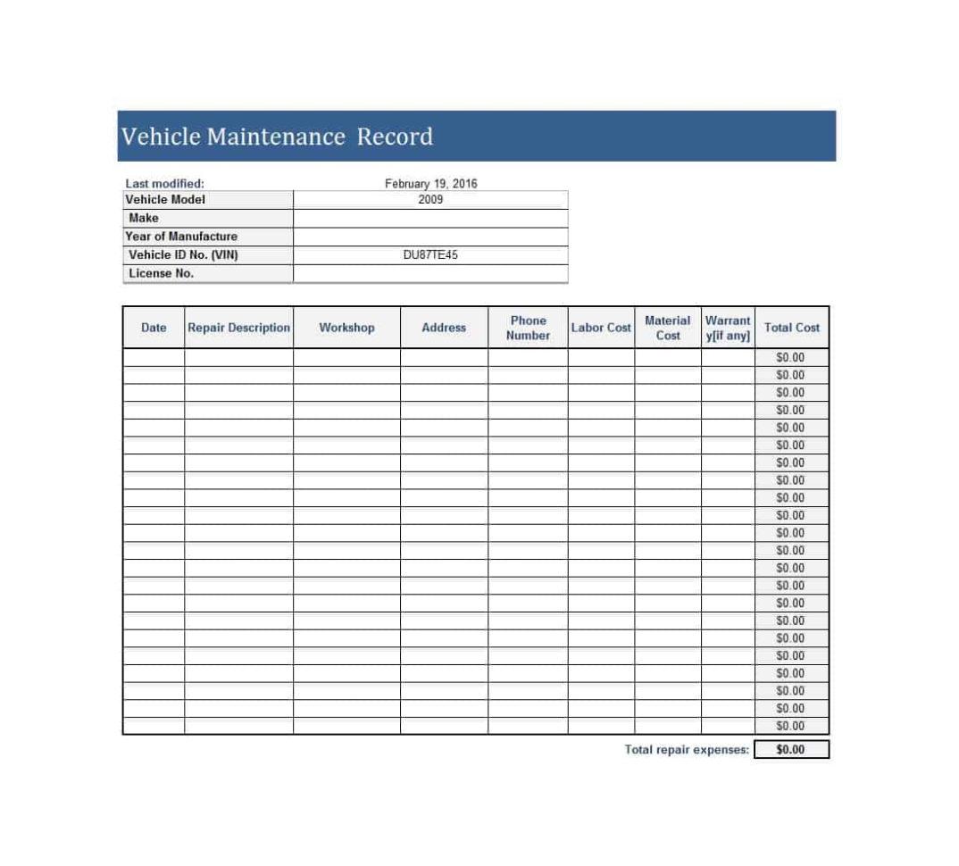 Equipment Maintenance Spreadsheet Spreadsheet Downloa