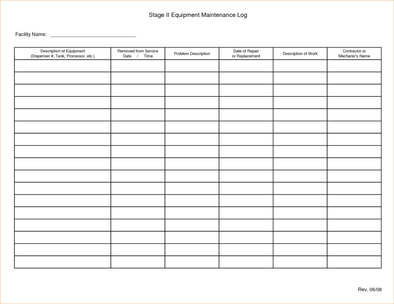 Equipment Maintenance Tracking Spreadsheet Spreadsheet Downloa Equipment Maintenance Tracking