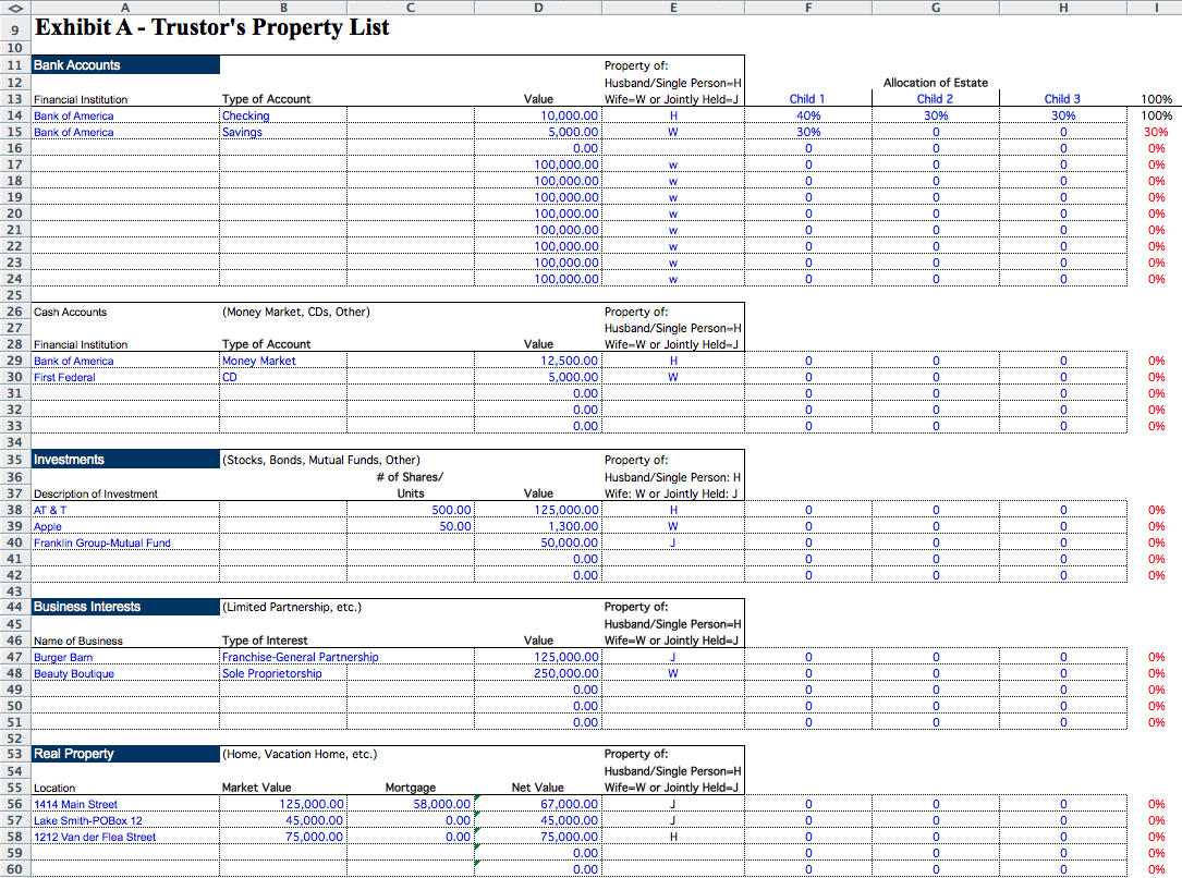 Estate Administration Spreadsheet