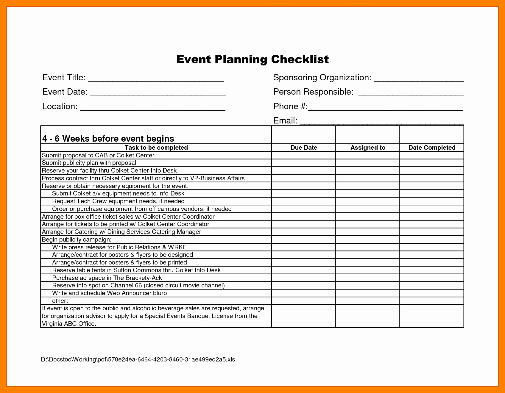 Event Planning Spreadsheet Excel Pertaining To Event
