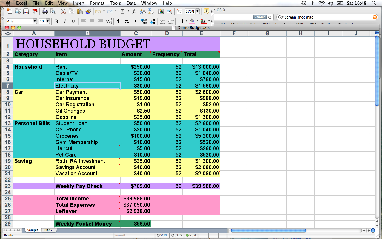 Example Of A Household Budget Spreadsheet Spreadsheet