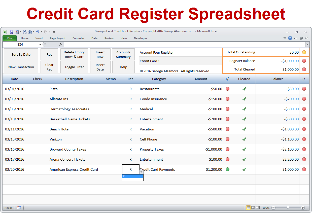 Excel Checkbook Spreadsheet In Excel Checkbook Software