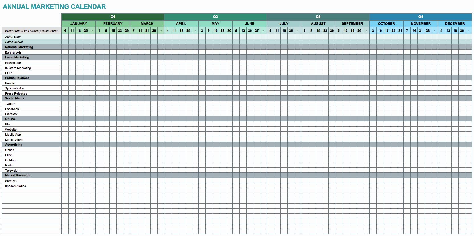 Excel Spreadsheet Calendar Template Within Editable