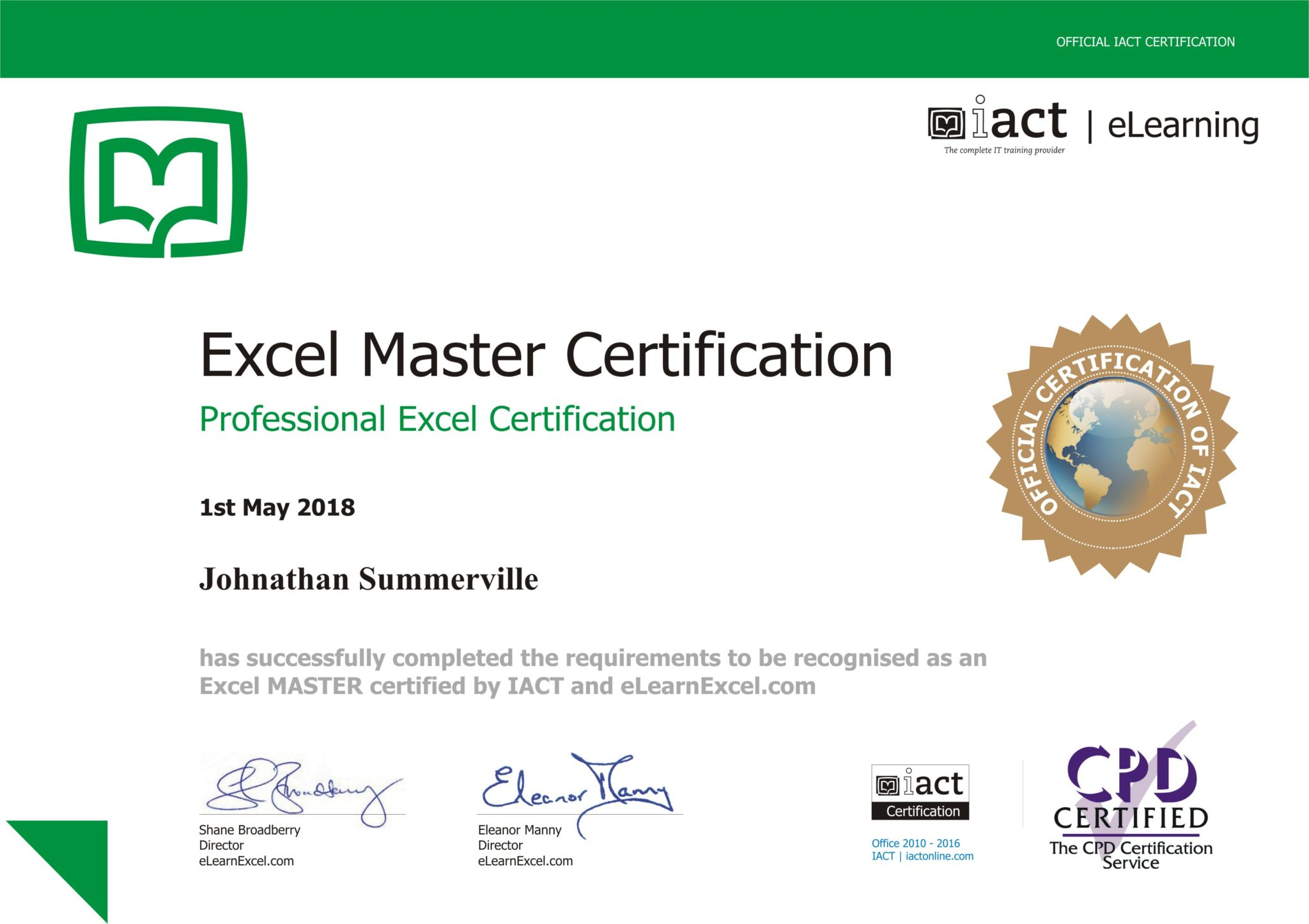 Excel Spreadsheet Certification With Excel Certification