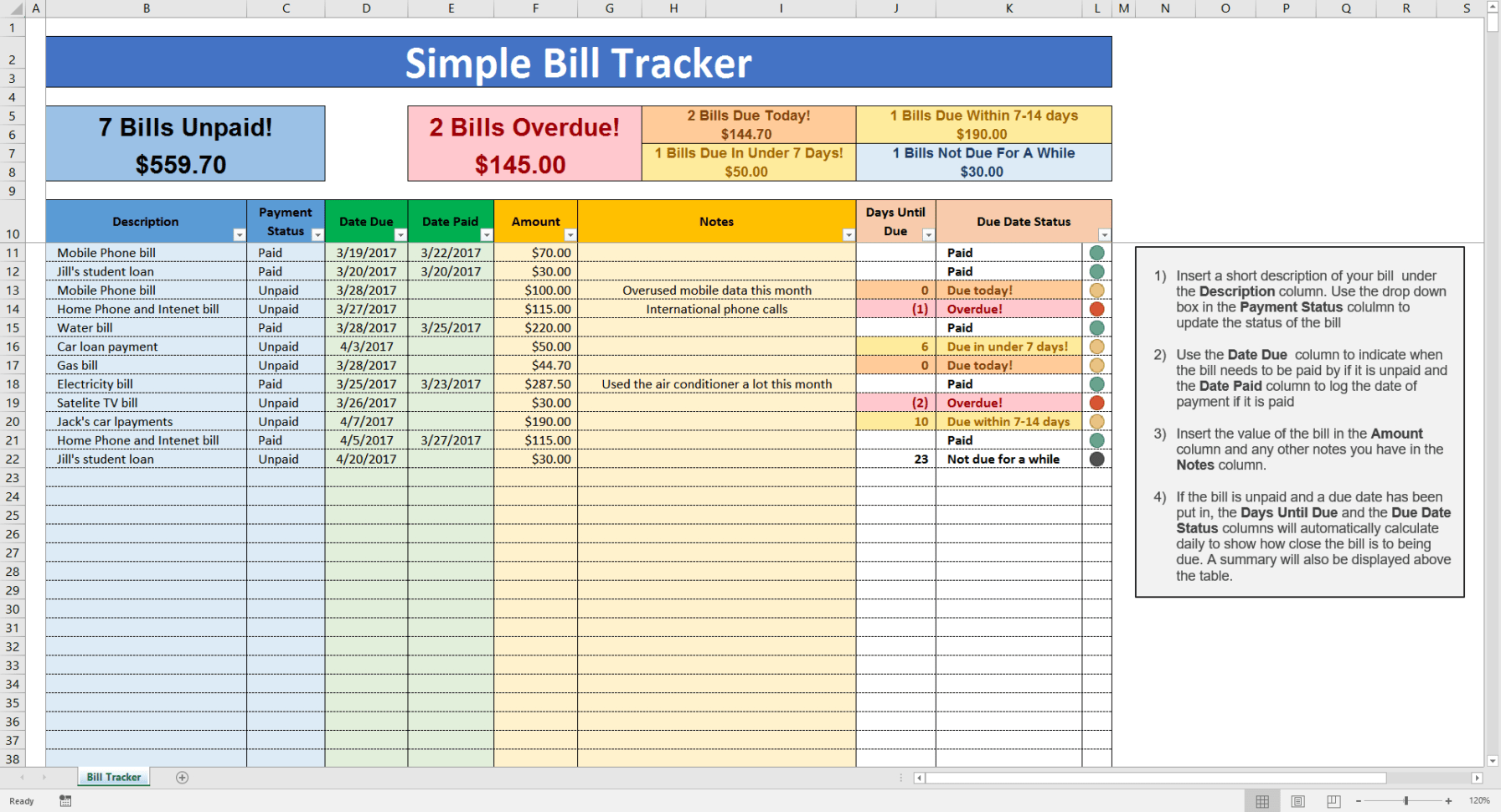 Excel Spreadsheet For Bill Tracking Within Bill Tracking