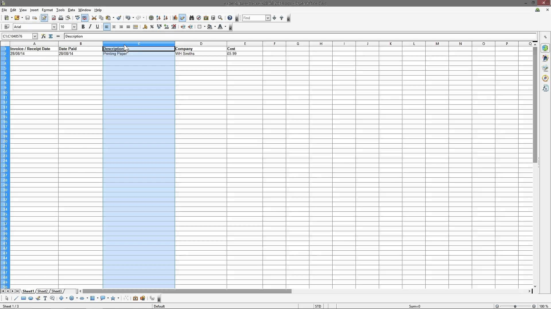 Expenditure Tracking Spreadsheet Pertaining To Free