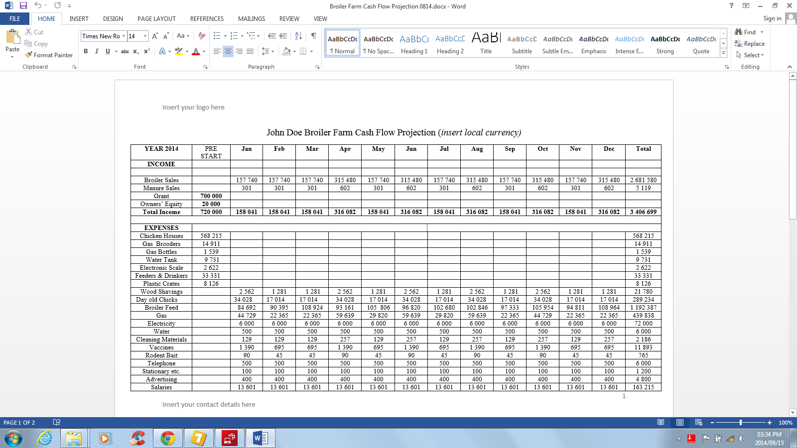 35 Farm Cash Flow Worksheet