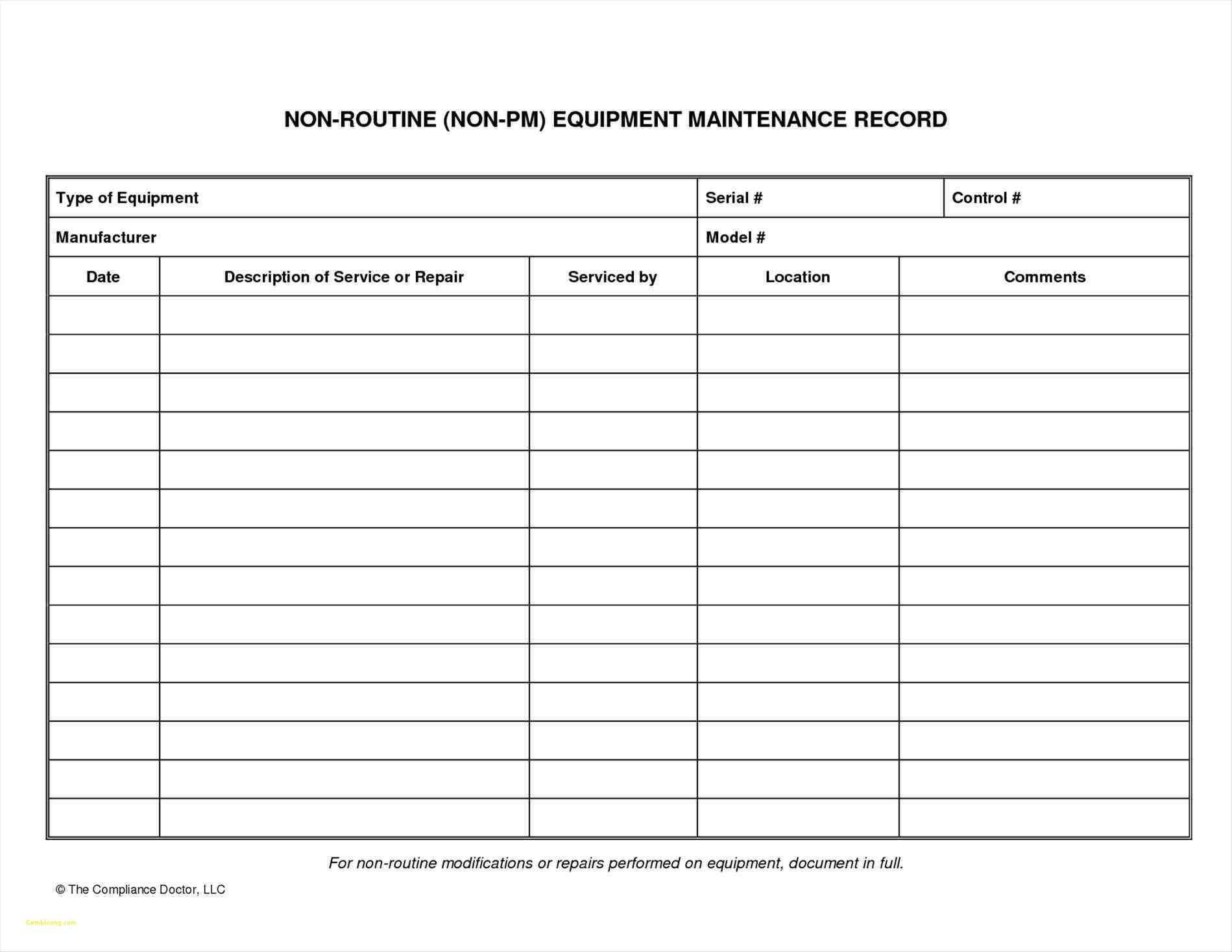 Farm Equipment Maintenance Log Spreadsheet Intended For